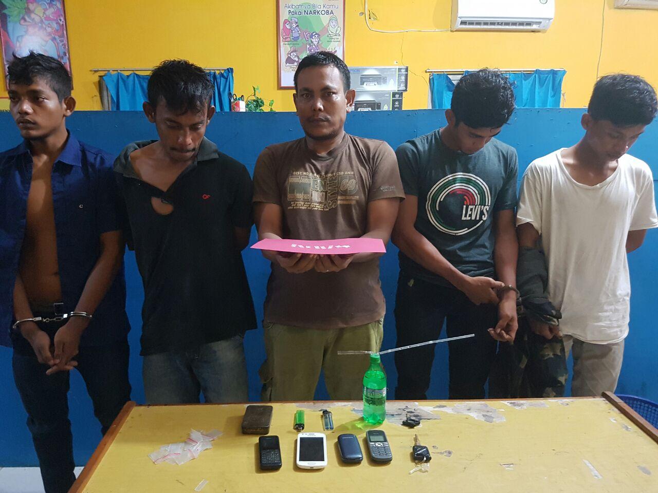 Lagi, Lima Pemuda Diamankan ke Polres Aceh Utara Karena Sabu