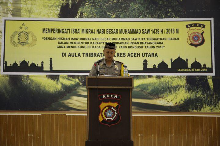 Polres Aceh Utara Gelar Peringatan Isra Mi'raj 1439 H