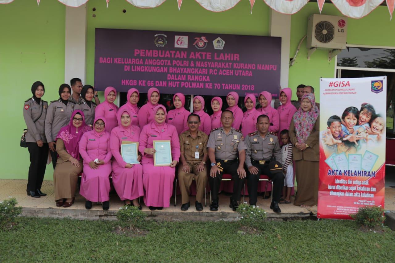 Bhayangkari dan Polwan Urus 99 Akte Lahir Gratis Untuk Masyarakat