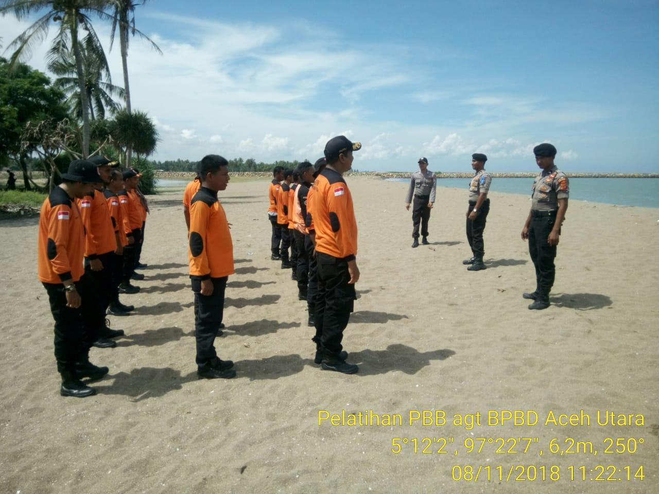 Polres Aceh Utara Beri Pelatihan PBB Bagi Anggota BPBD Rescue