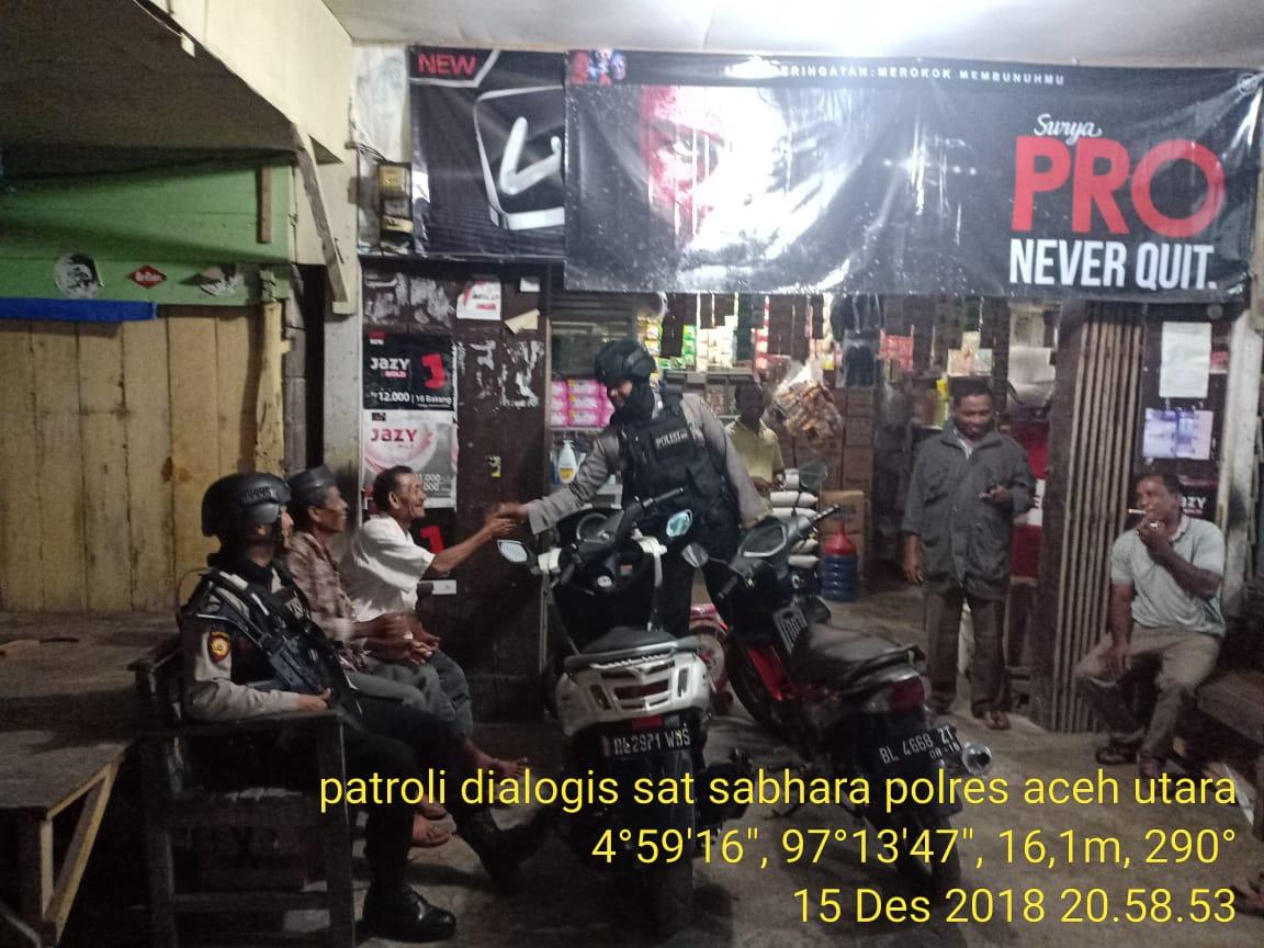 Antisipasi Tindak Kejahatan, Anggota Sabhara Laksanakan Patroli Dialogis
