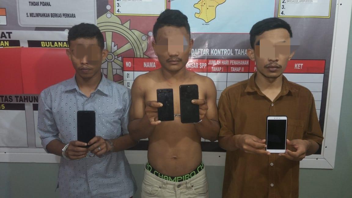 Tiga Bandit, Perampas Handphone di Aceh Utara Ditangkap