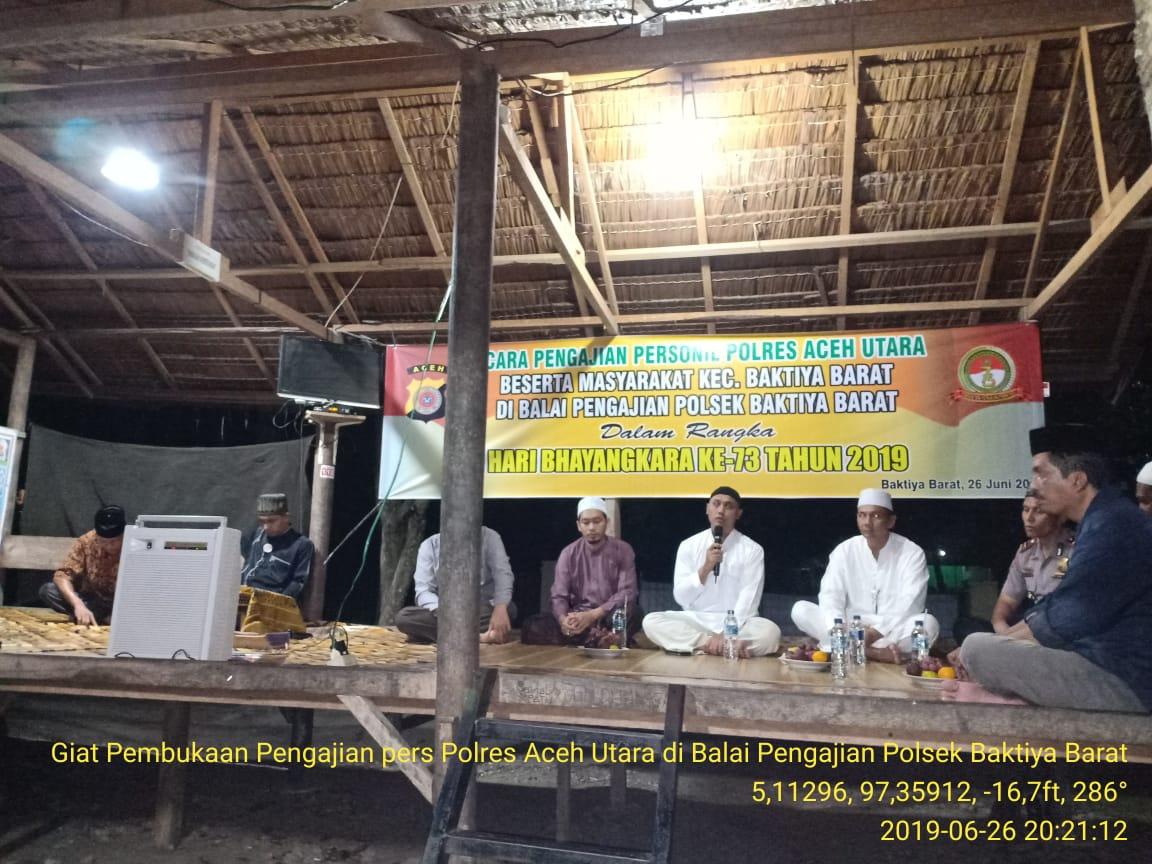 Kapolres Aceh Utara Buka Pengajian Rutin di Polsek Baktiya Barat