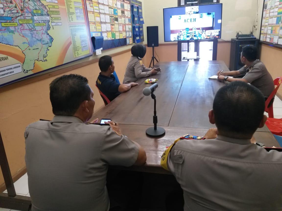 """Polres Aceh Utara Ikuti """"Video Conference"""" Perdana di Kantor Sendiri"""