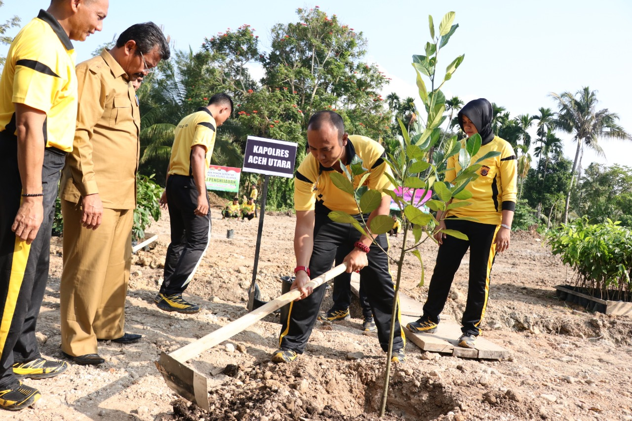 Peduli Penghijauan, Polres Aceh Utara tanam 1465 Pohon