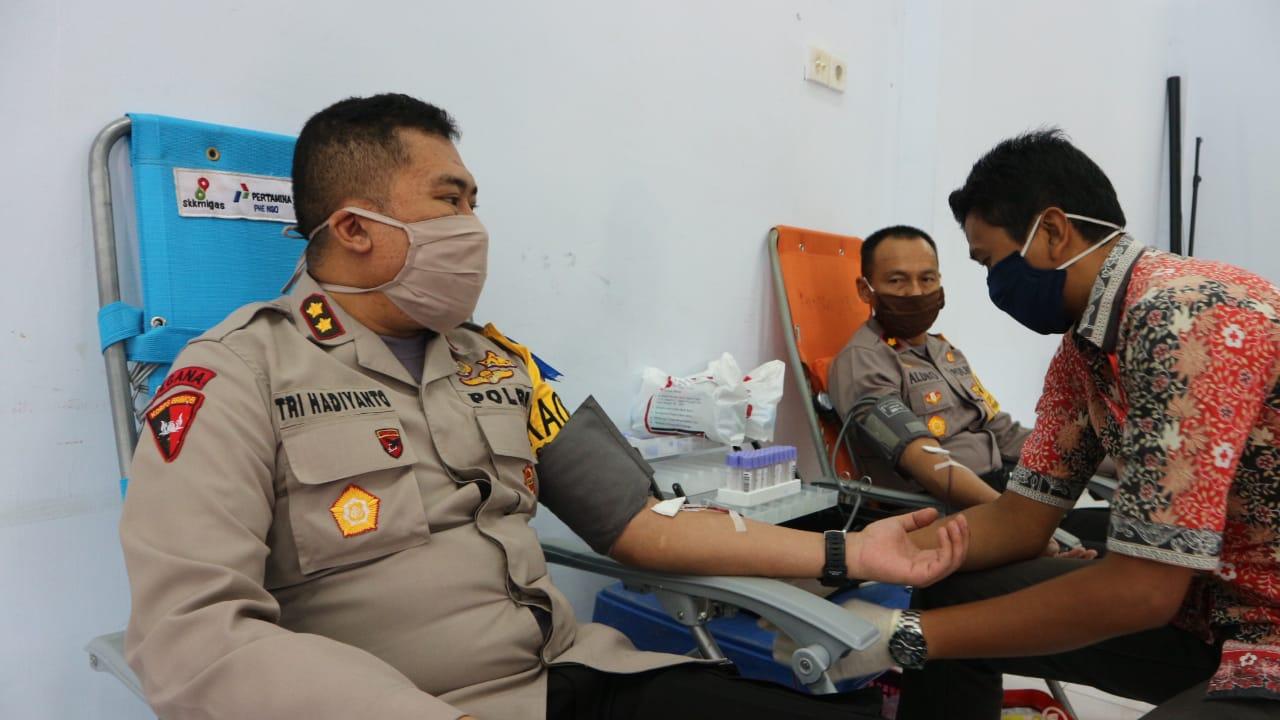 Stok Darah di PMI Minim, Polres Aceh Utara Sumbang 48 Kantong Darah