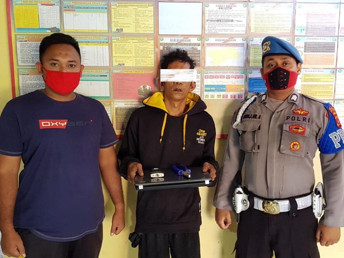 Polsek Syamtalira Aron Amankan Maling Laptop dari Amukan Warga
