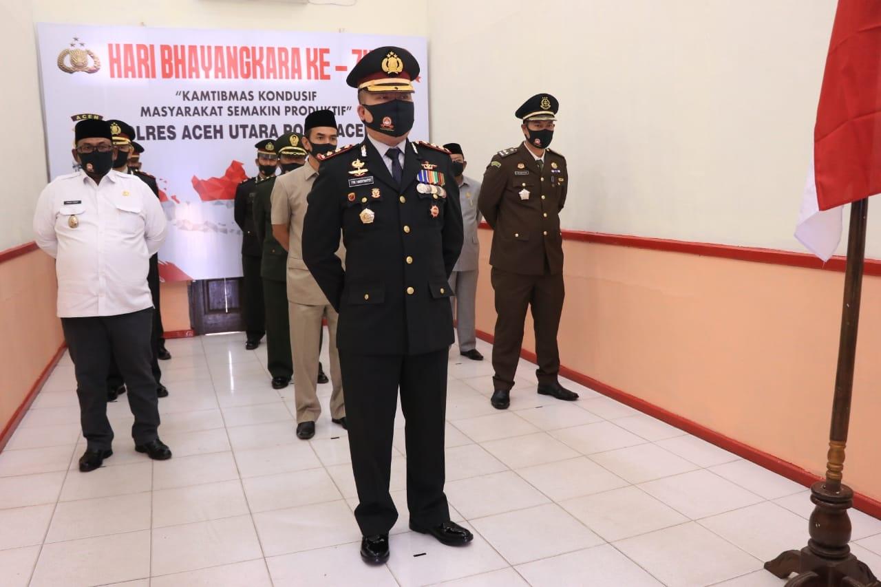 Polres Aceh Utara Ikuti Upacara HUT Bhayangkara ke-74 Secara Virtual