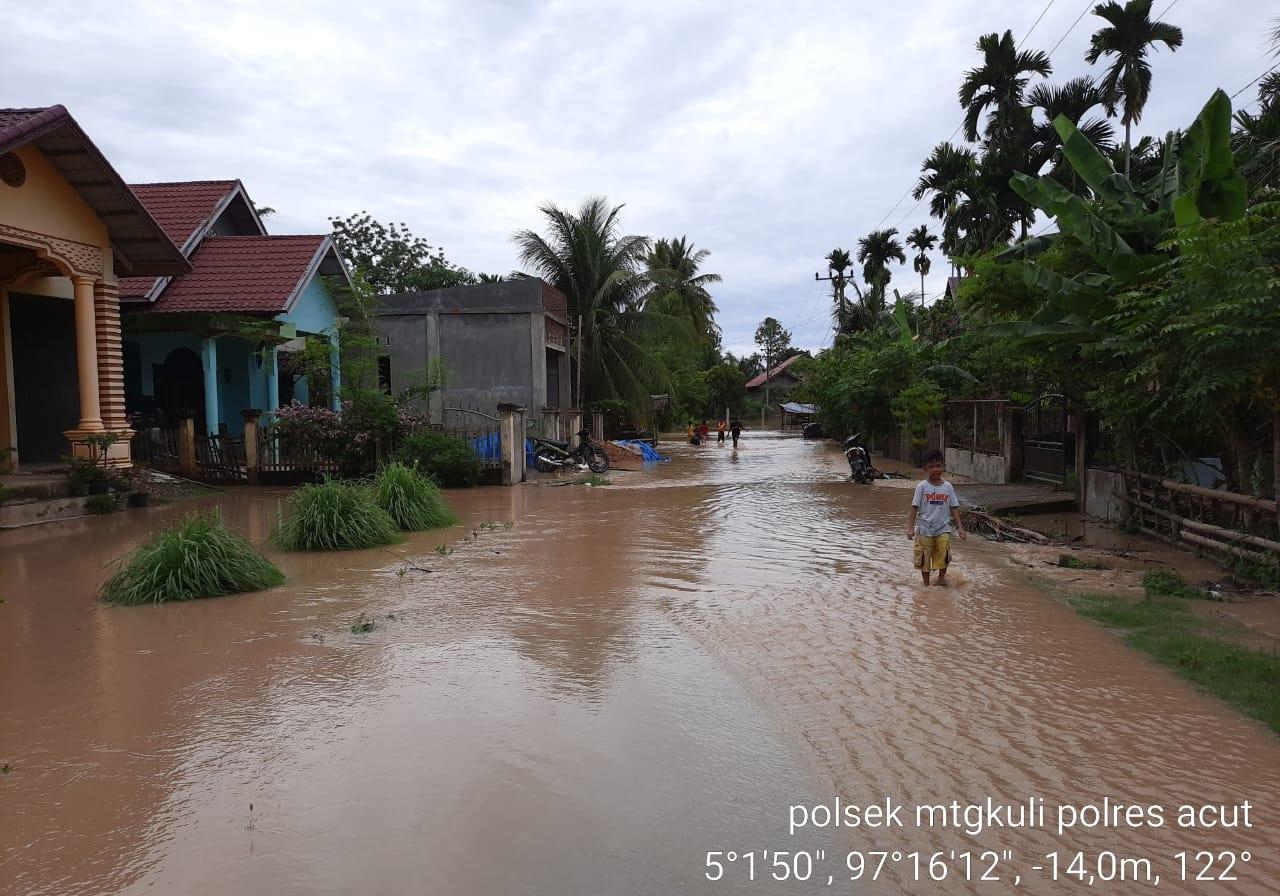 Hujan Deras, Belasan Gampong di Matangkuli Kembali Terendam Air