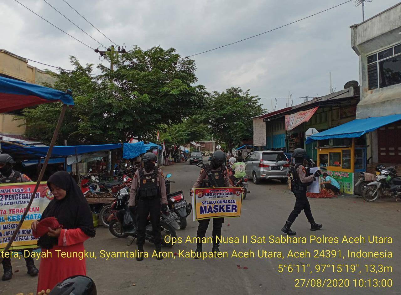 Polres Aceh Utara Gencarkan Patroli Disiplin Protokol Kesehatan 3 M