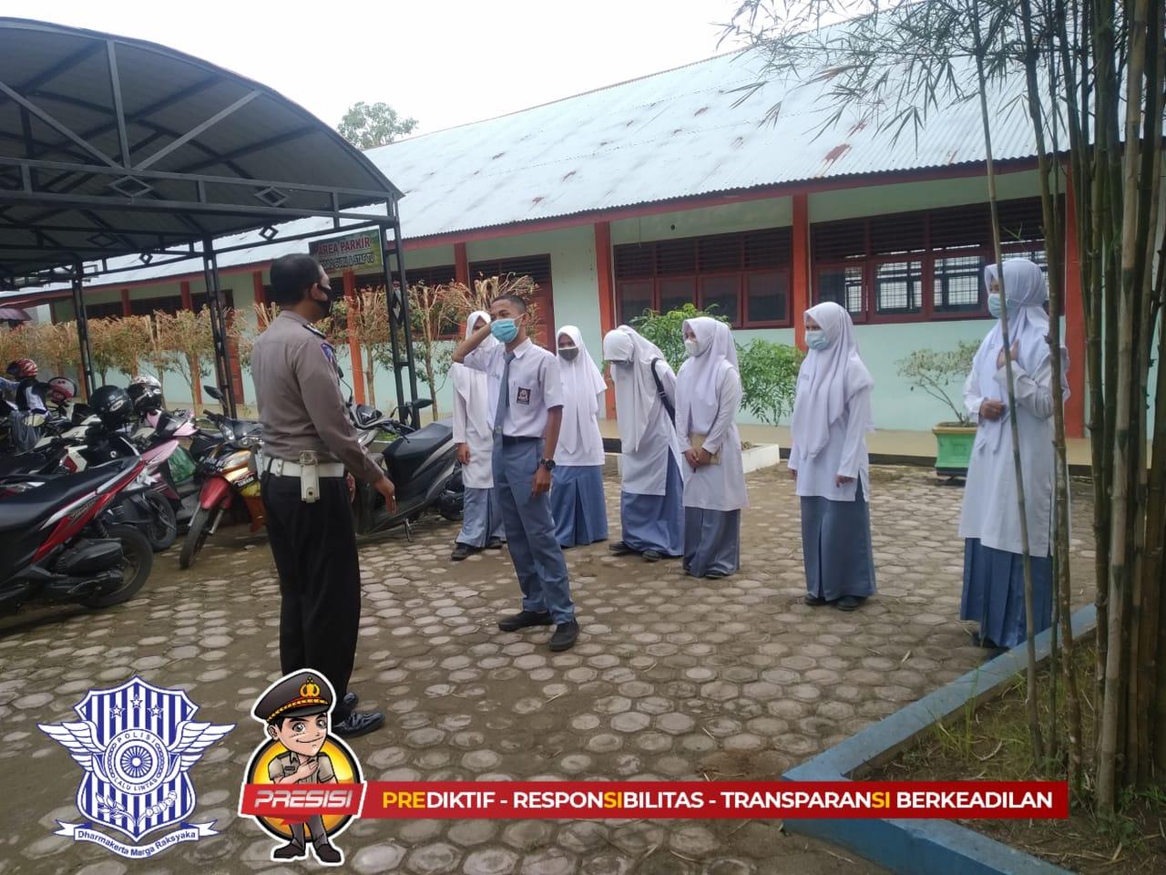 Foto : Satlantas Aceh Utara Sosialiasi Tertib Lalu Lintas Pada Kelompok Pelajar