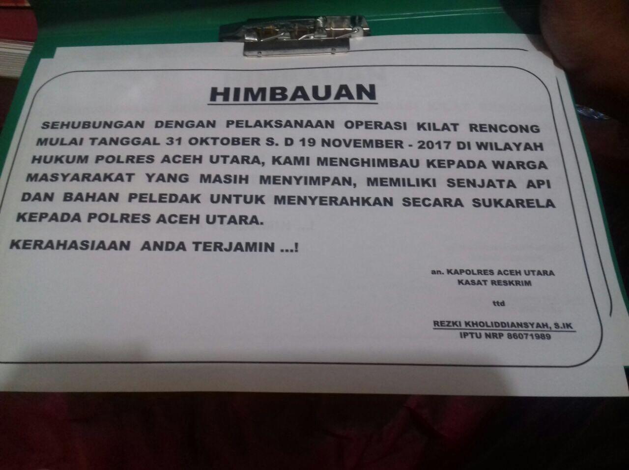Masyarakat Aceh Utara diimbau Serahkan Senjata Api ke Polisi