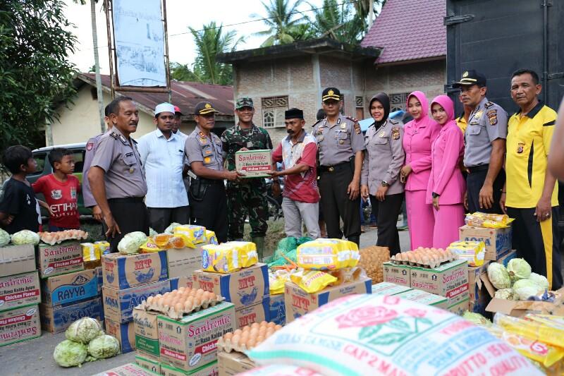 Salurkan Bantuan Dari Bener Meriah, Polres Aceh Utara Sasar 10 Desa