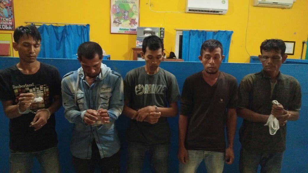 Miliki Sabu dan Ganja, Lima Pria ini Diboyong Ke Polres Aceh Utara