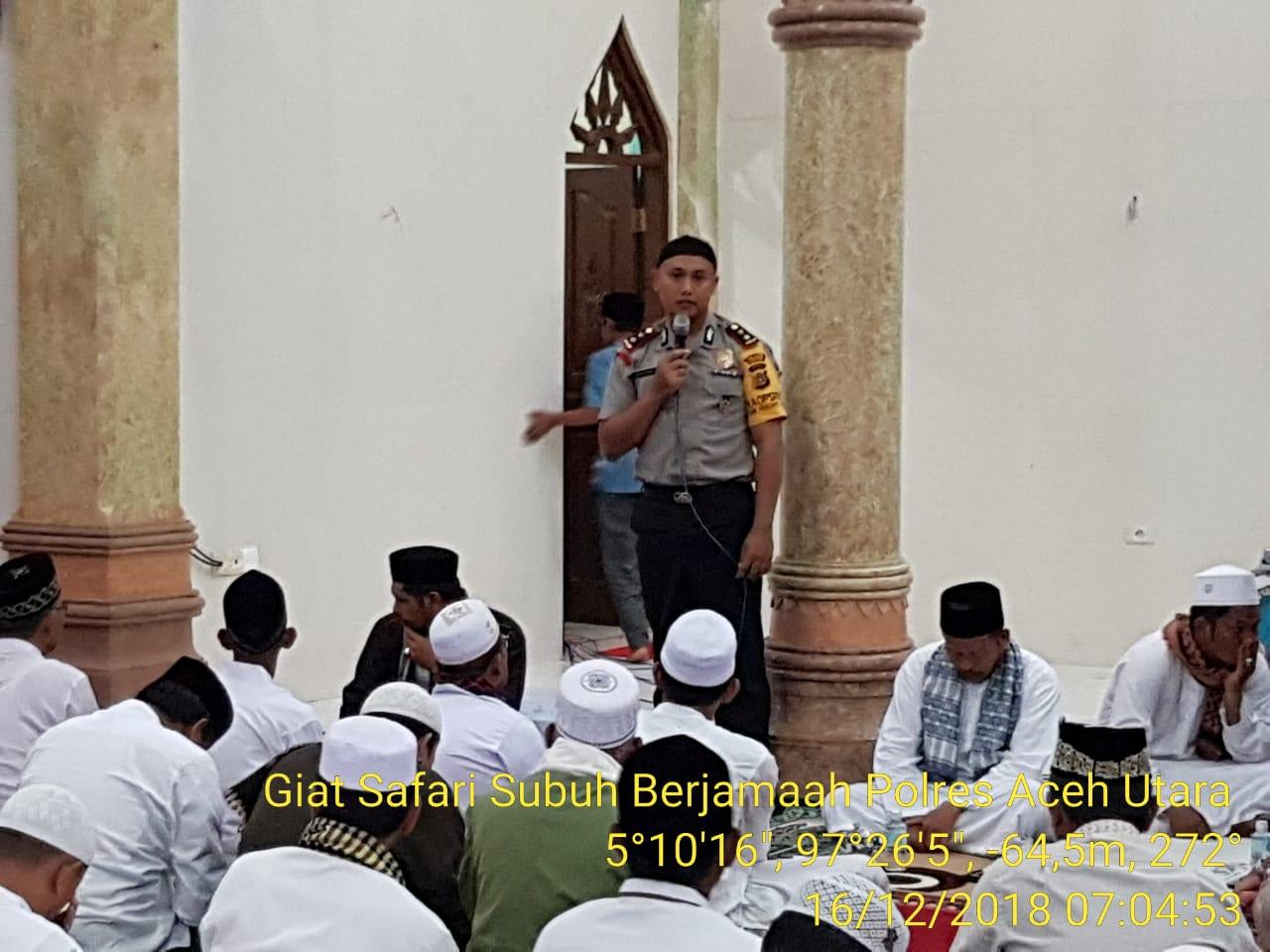 Kapolres Aceh Utara Gelar Safari Subuh di Masjid Baiturrahim Abu Keumala