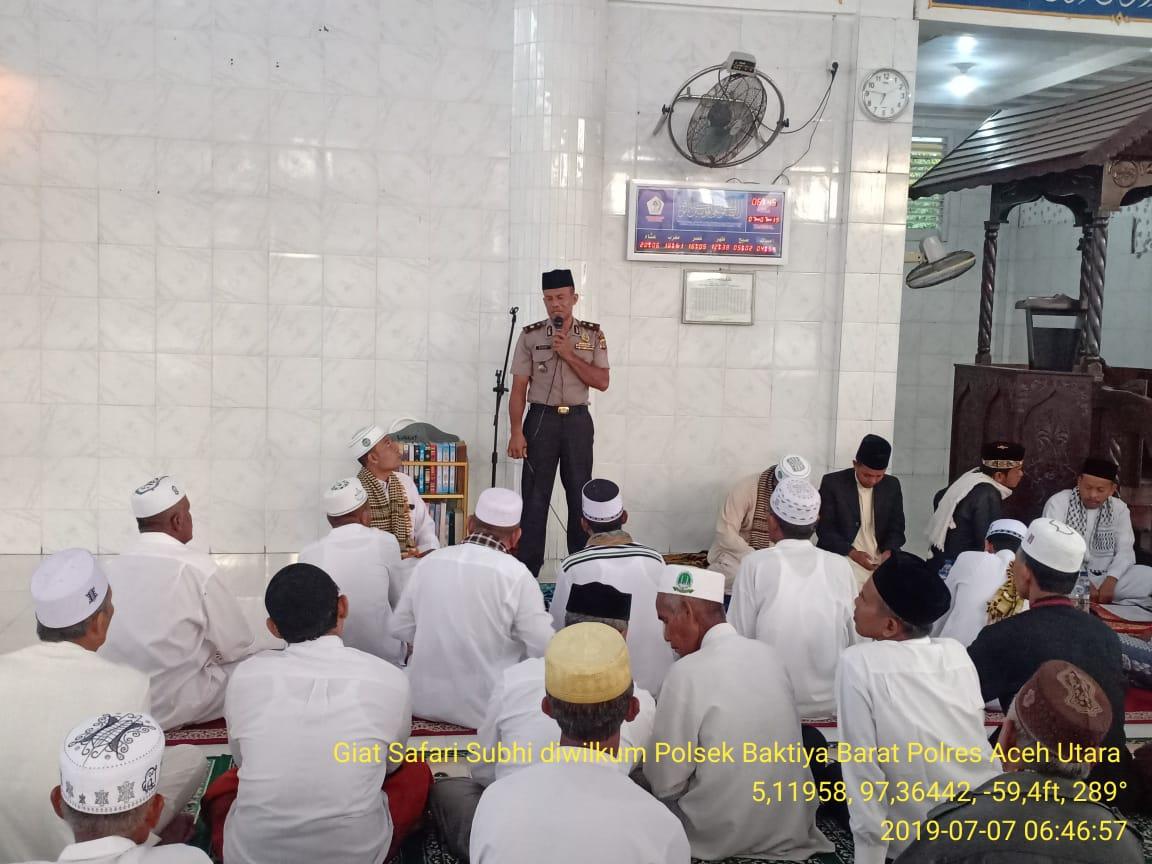 Polres Aceh Utara Lanjutkan Safari Subuh ke Masjid Baitul Muklisin Sampoiniet, Baktiya Barat