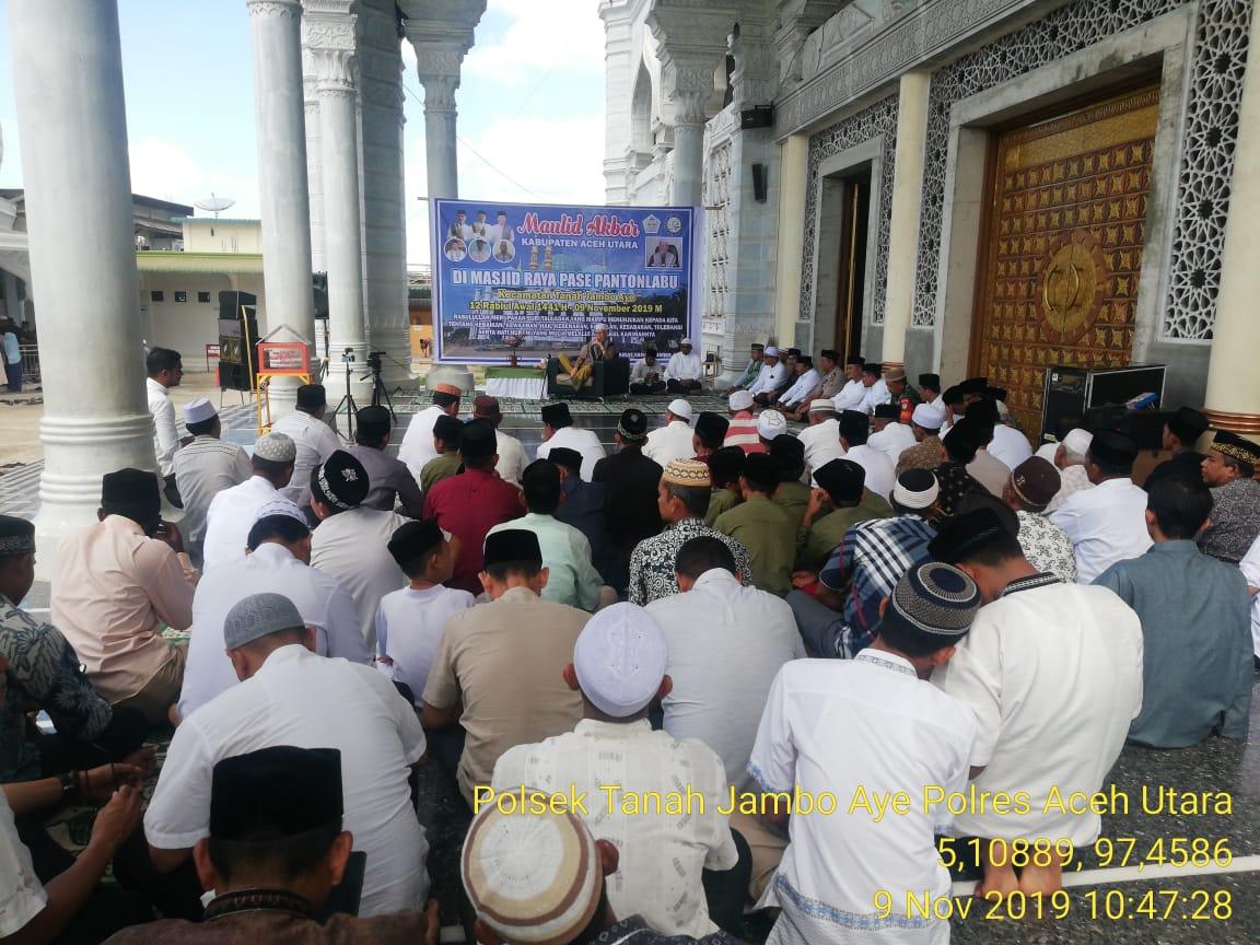 Maulid Akbar Di Masjid Raya Pase Personel Polsek Dikerahkan Ke Lokasi Tribratanews Polres Aceh Utara
