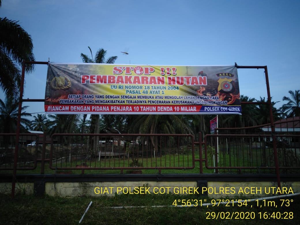 Cegah Karhutla, Polres Aceh Utara Pasang Spanduk Imbauan