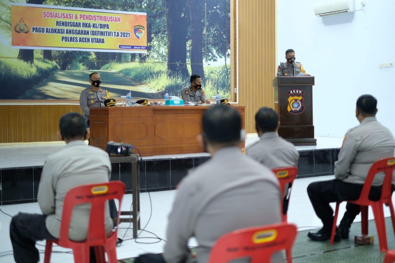 Anggaran Polres Aceh Utara Tahun 2021 Naik 21,63% Capai Rp56,6 Milyar