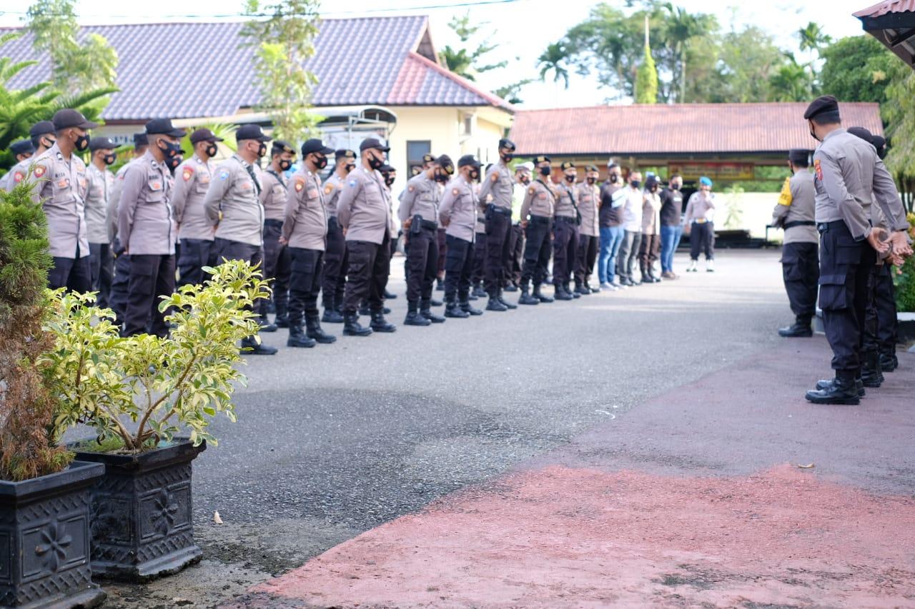 Backup Unras di Lhokseumawe, Polres Aceh Utara Berangkatkan 100 Personel