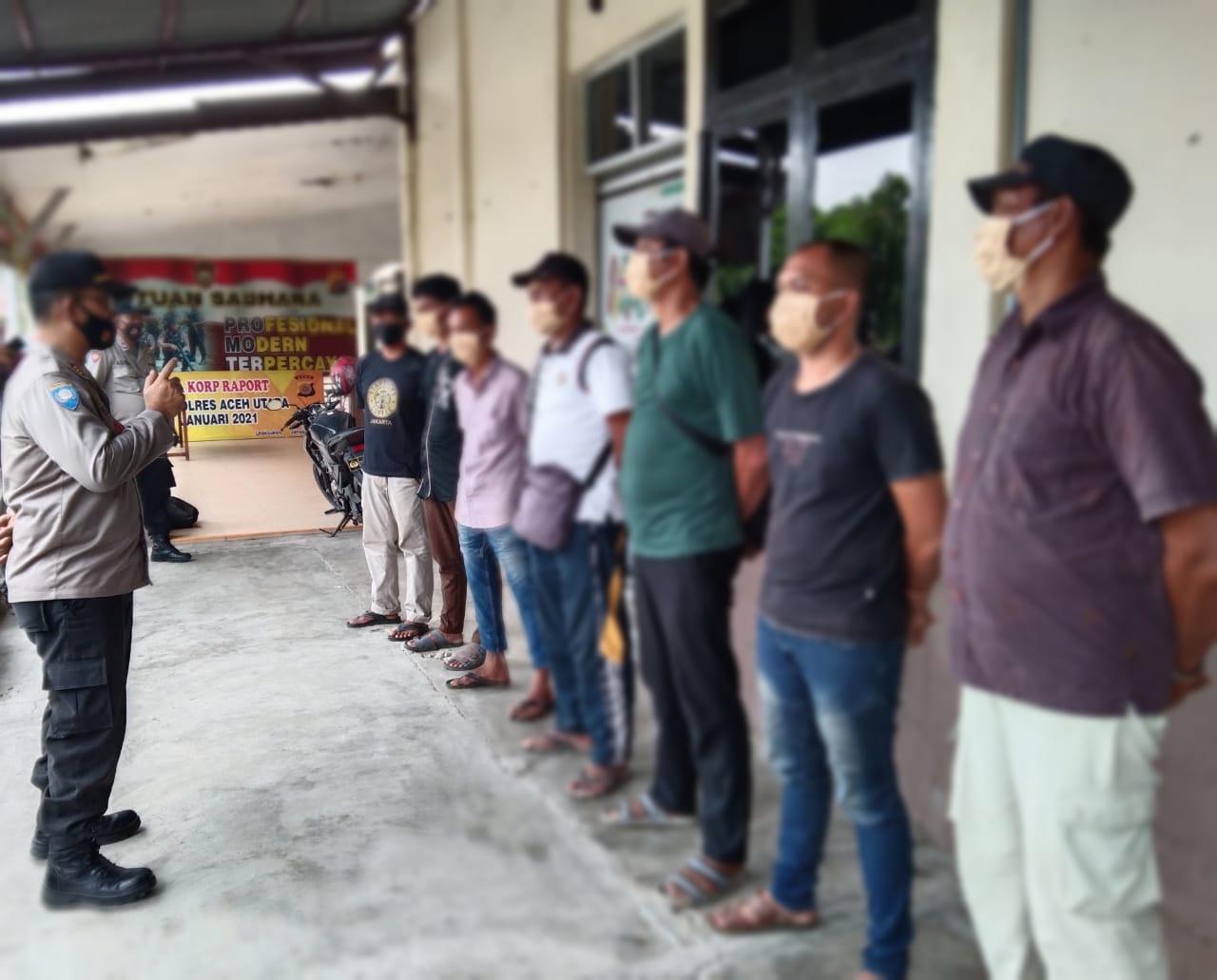 Gelar Operasi Premanisme, Polres Aceh Utara Amankan 7 Juru Parkir Liar