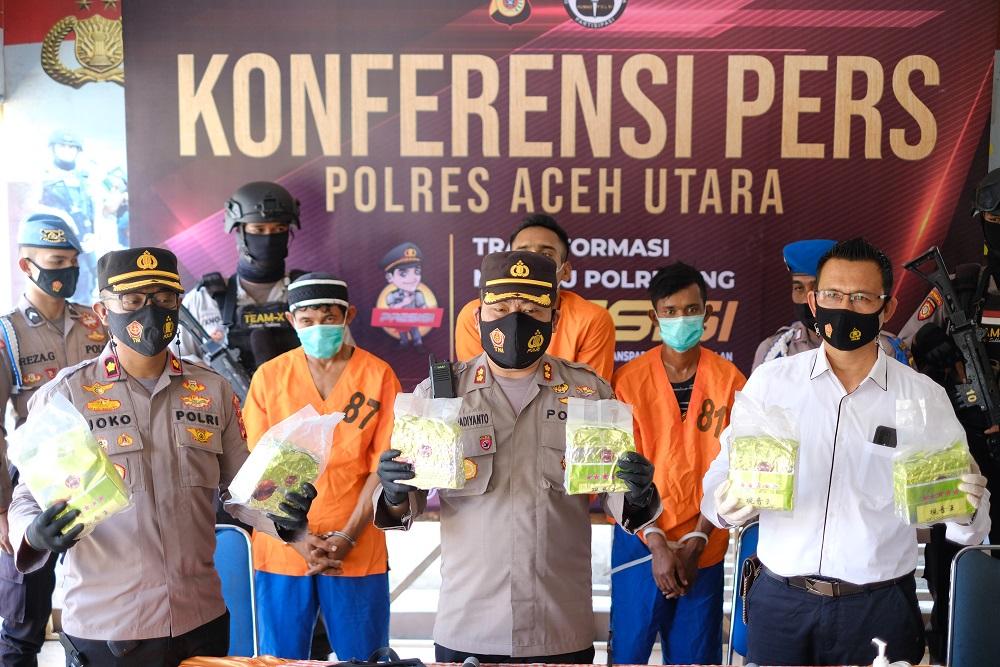 Polres Aceh Utara Gagalkan Peredaran 7kg Sabu dari Komplek Perumahan Nelayan