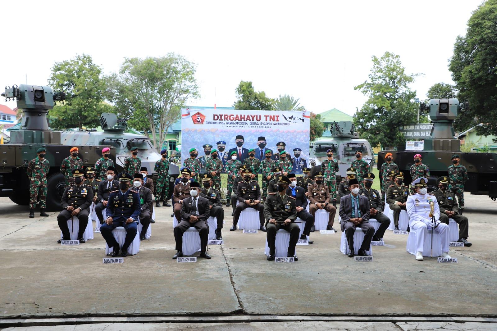 KAPOLRES ACEH UTARA : Acara peringatan Dirgahayu TNI Ke – 76 Berlangsung khidmat